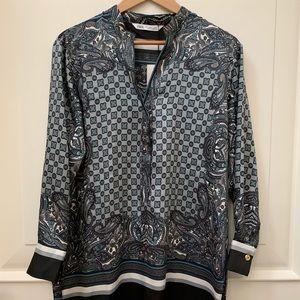 Zara long scarf printed shirt blouse black gray